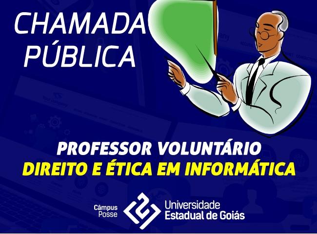 Chamada pública para seleção de professor voluntário de Direito e Ética em Informática